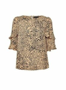 Womens Brown Animal Print Top - White, White