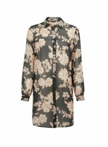 Womens Black Floral Shirt, Black