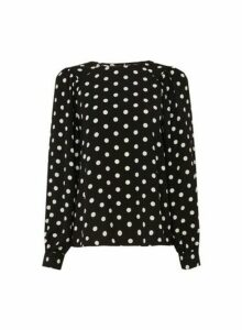 Womens Black Spot Balloon Sleeve Top, Black