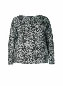 Womens **Curve Grey Brushed Animal Print Top- Multi Colour, Multi Colour