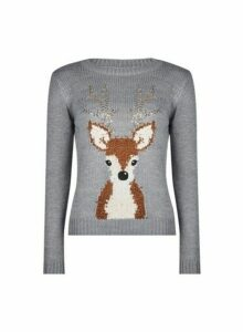 Womens Petite Grey Sequin Reindeer Jumper, Grey