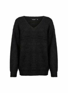 Womens Black Boucle V-Neck Jumper, Black