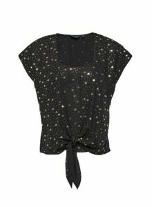 Womens Black Star Print Tie Front T-Shirt, Black