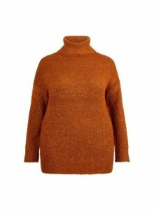 Womens **Dp Curve Red Boucle Roll Neck Jumper- Brown, Brown