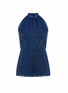 Womens **Billie & Blossom Blue Foil Halter Top- Cobalt, Cobalt