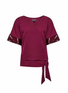 Womens Billie & Blossom Mulberry Sequin Kimono Top - Red, Red