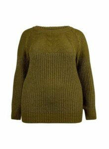 Womens **Dp Curve Khaki Boucle Roll Neck Jumper, Khaki