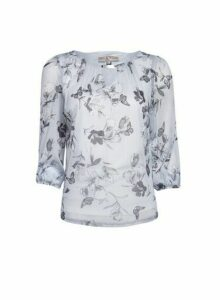 Womens **Billie & Blossom Petite Grey Butterfly Print 3/4 Sleeve Top, Grey