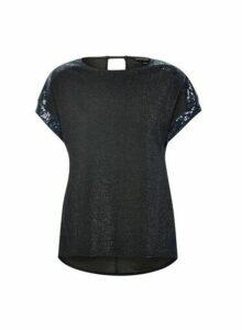 Womens Navy Sequin T-Shirt- Blue, Blue