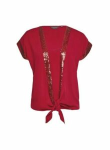 Womens Red Sequin Trim 2 In 1 Top, Red