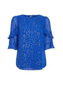 Womens Cobalt Foil Flutter Sleeve Top- Blue, Blue