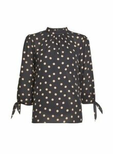 Womens Black And Camel Spot Print 3/4 Sleeve Top, Black