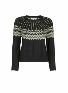 Womens Petite Black Fairisle Print Jumper, Black