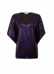 Womens **Billie & Blossom Tall Purple Foil Batwing Top, Purple