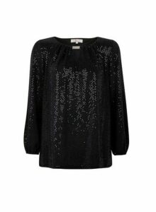 Womens Billie & Blossom Tall Black Sequin Trim Blouse, Black