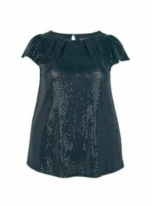 Womens **Billie & Blossom Curve Black Sequin Shell Top, Black