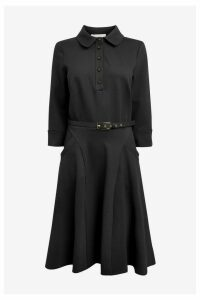 Womens Phase Eight Black Enola Belted Ponte Shirt Dress -  Black