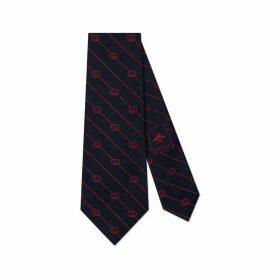 Interlocking G stripe silk tie