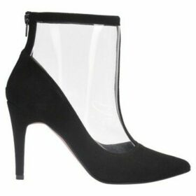 Cuplé  Pointed leather and vinyl ankle boots  women's Low Ankle Boots in Black