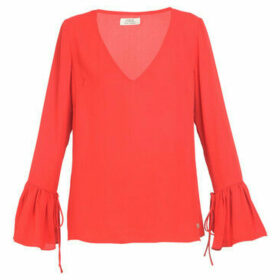 Cuplé  Long-sleeved V-neck blouse  women's Blouse in Red