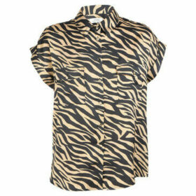 Cuplé  Animal print blouse short sleeves  women's Shirt in Black