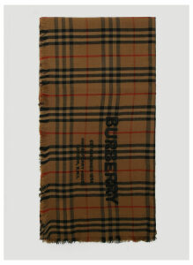 Burberry Embroidered Logo Classic Check Scarf in Brown size One Size