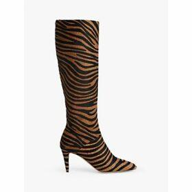L.K.Bennett Gini Zebra Print Calf Hair Knee Boots, Multi