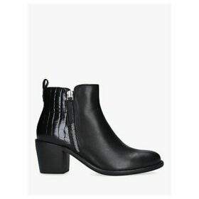 Carvela Secil Croc Leather Combination Ankle Boots, Black