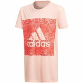 adidas  YG Logo Loose T  women's T shirt in Pink