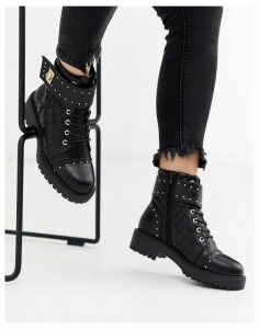 ASOS DESIGN Annabel studded lace up boots in black