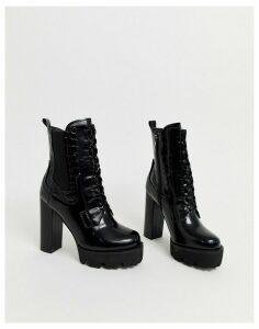 RAID Ashlynn black chunky heeled hiker boots