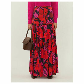 Serence floral-print stretch-silk maxi skirt