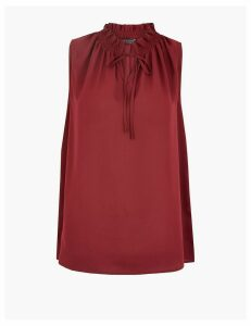 M&S Collection Tie Neck Shirred Shell Top