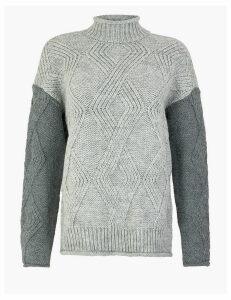 M&S Collection Argyle Cable Knit Turtle Neck Jumper