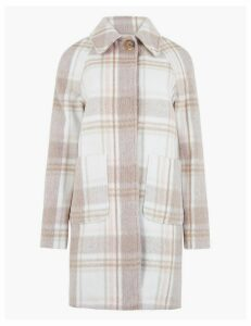 M&S Collection Raglan Checked Car Coat