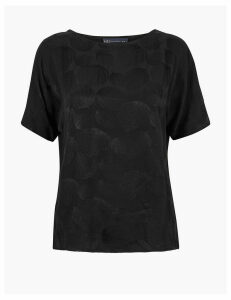 M&S Collection Woven Jacquard Leaf Design Straight Fit Top