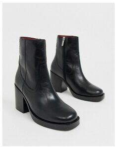 Bronx black leather square toe heelend ankle boots
