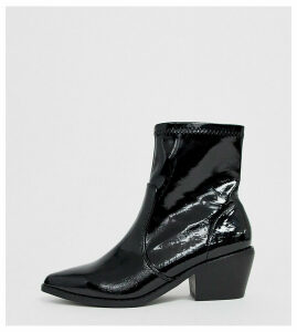 Glamorous Wide Fit black patent Western sock boots