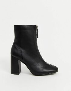 Glamorous black zip front ankle boots