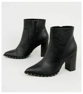 Wide Fit Black Stud Trim Pointed Boots New Look