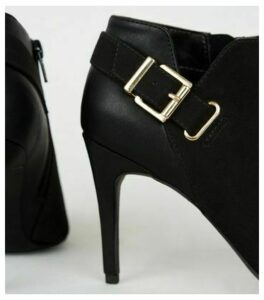 Black Mixed Panel Buckle Shoe Boots New Look