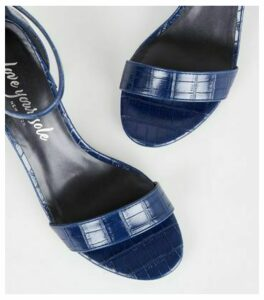 Navy Faux Croc Flared Block Heel Sandals New Look