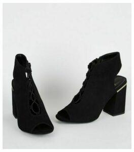 Black Suedette Lace Up Peep Toe Boots New Look Vegan