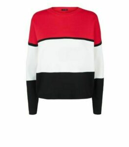 Red Colour Block Jumper New Look