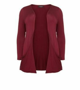 Curves Burgundy Jersey Cardigan New Look
