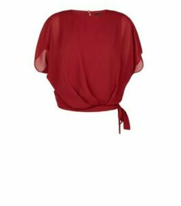 Burgundy Tie Side Batwing Top New Look