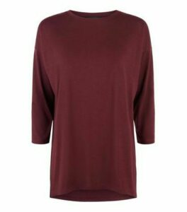 Burgundy 3/4 Sleeve T-Shirt New Look