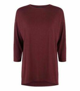 Burgundy 3/4 Sleeve T-Shirt New Look