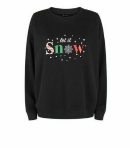 Black Let It Snow Slogan Christmas Jumper New Look