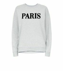 Pale Grey Paris Textured Slogan Sweatshirt New Look